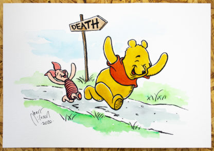 Painting of Piglet and Winnie the Pooh running towards death
